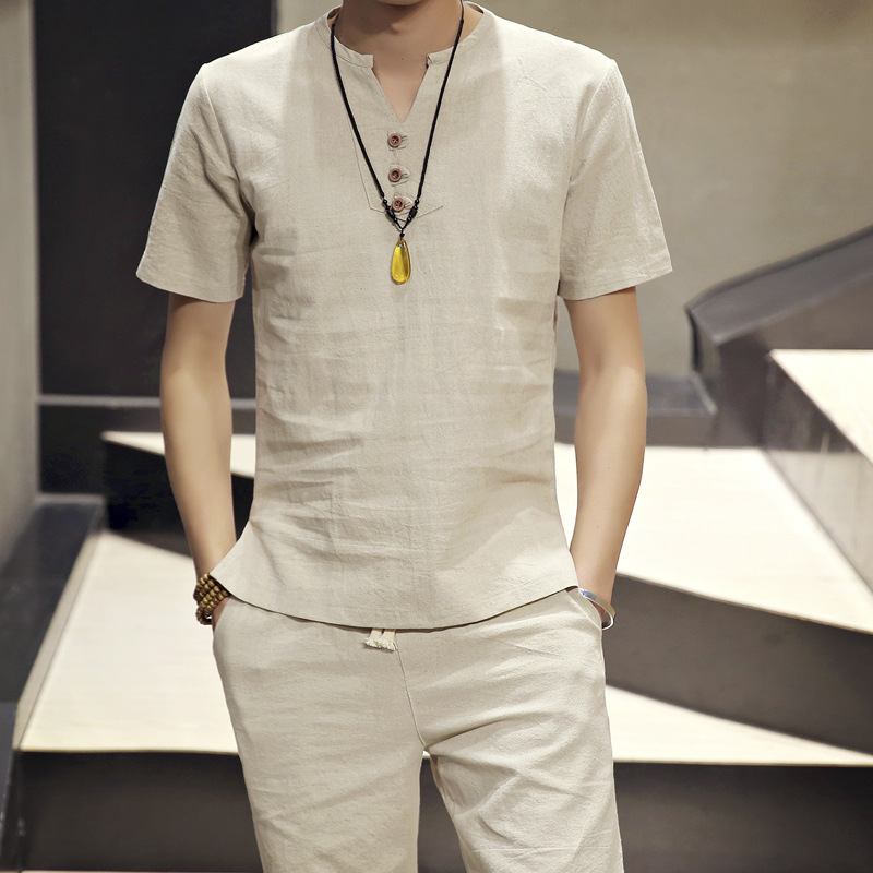 2019 Summer New Style Men Japanese-style Linen Short Sleeve Set Thin T-shirt Suit Shorts Fashion Men'S Wear