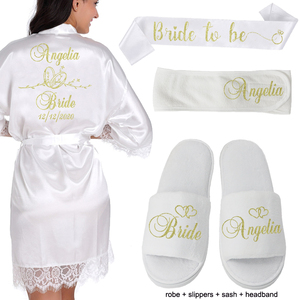 Image 2 - Gepersonaliseerde Datum Naam Kant Kimono Gewaad Vrouwen Bruid Bruidsmeisje Gewaden Bachelorette Bruiloft Preparewear