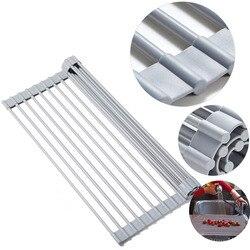 Kurutma lavabo rafı Roll-up bulaşık kurutma rafı silikon + paslanmaz çelik mutfak drenaj rafı katlanabilir tezgah organizatör kurutma tutucu