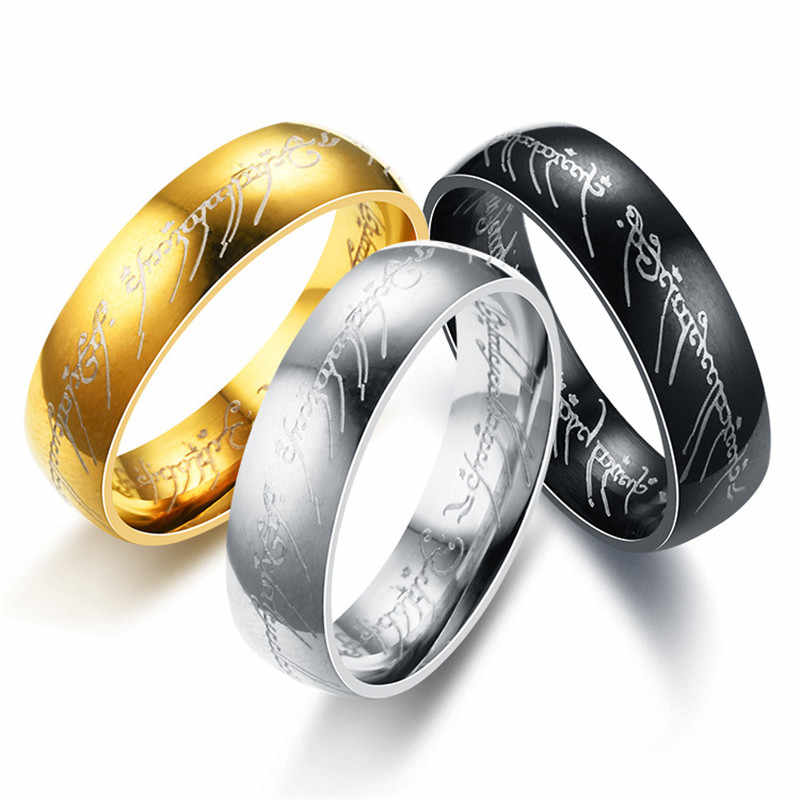 2020 Personality Letters Gold Rings Stainless Steel One Ring Of Power Jewelry Lord of Ring Gift for Women Men Fashion Jewelry