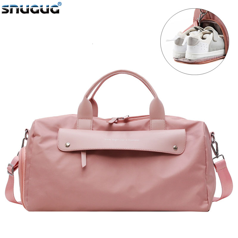 SNUGUG Outdoor Fitness Bag Waterproof Women Male Sports Bags For Shoes New Women Travel Handbag Tote Bag Nylon Pink Gym Bag Men