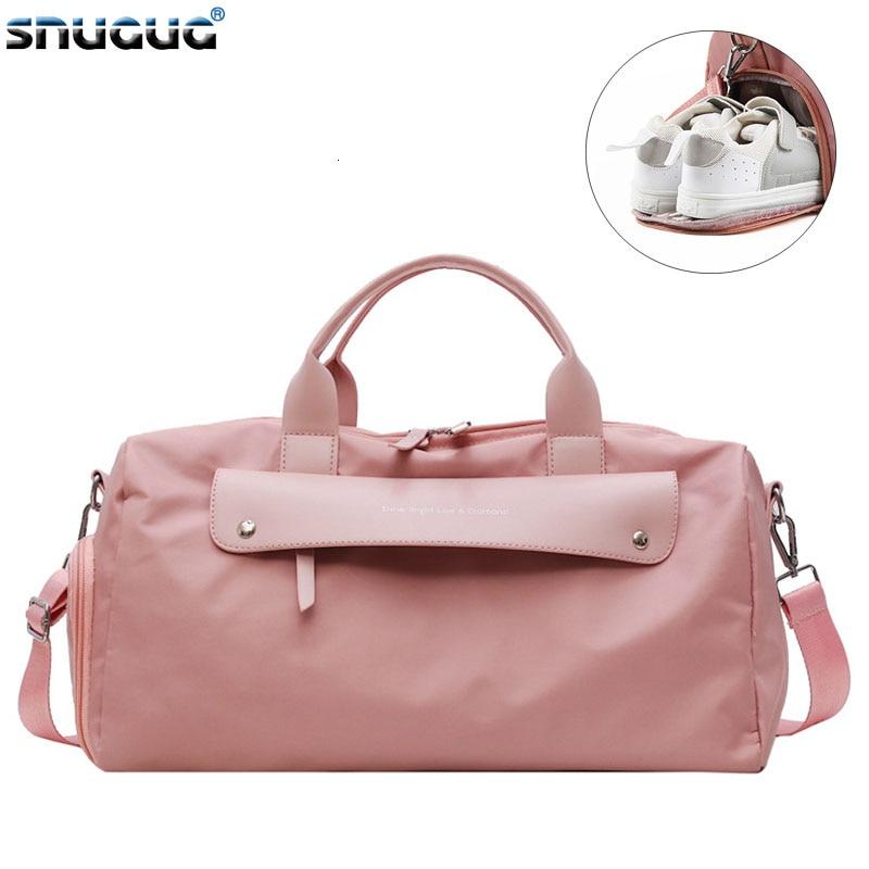 SNUGUG Outdoor Fitness Bag Waterproof Women Male Sports Bags For Shoes New Women Travel Handbag Tote Bag Nylon Pink Gym Bag Men