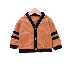 Детская Хлопковая весенне осенняя одежда Однотонный свитер для