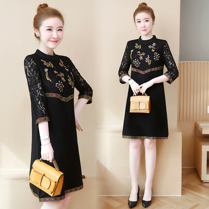 Photo Shoot Large Size Dress 2019 Autumn New Style Fat Mm Lace Joint Ethnic Embroidery Loose-Fit Belly Covering Dress