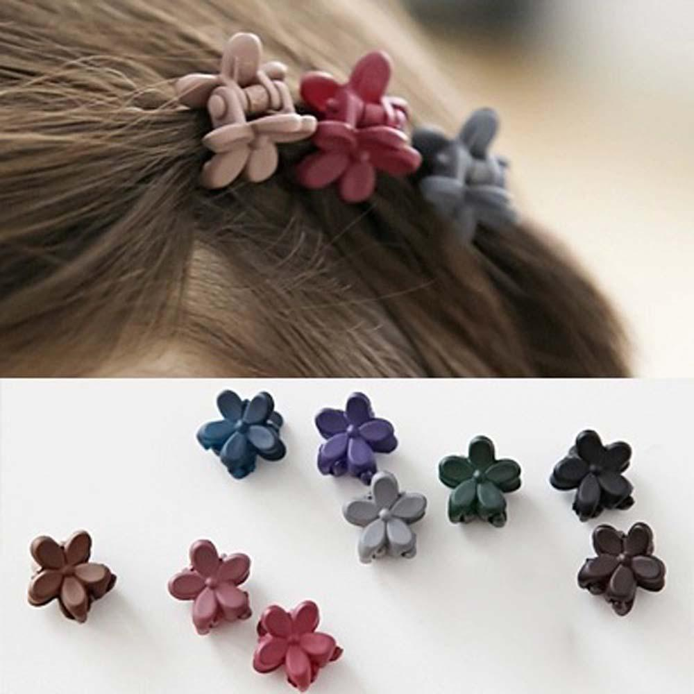 10pcs Fashion Baby Girls Small Hair Claw Cute Candy Color Flower Hair Jaw Clip Children Hairpin Hair Accessories