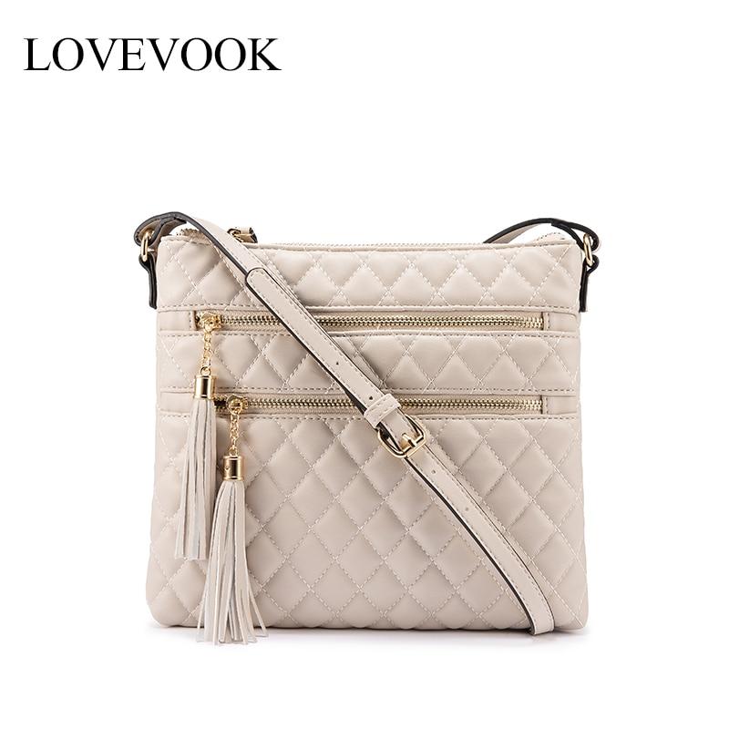 LOVEVOOK Crossbody Bags For Women 2019 Multi-pocket Envelope Bag Female Shoulder Messenger Bag For Ladies Pu Leather With Tassel