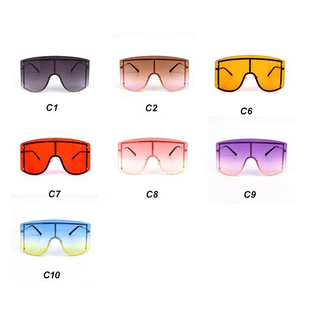 Oversized Women Blue Yellow Gradient Sunglasses Fashion Rimless Metal Female Shades Luxury Brand Designer Personality Eyewear 6