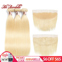 Brazilian Straight Hair with Frontal 613 Blonde Human Hair Bundles with Frontal 3 Bundles With 13*4 Lace Frontal Closure(China)