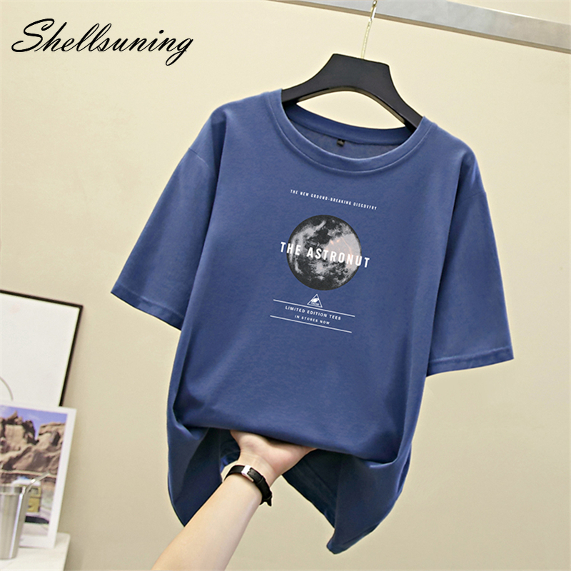 Shellsuning T Shirt Women Summer Harajuku 2020 Tops Short Sleeve Print Tees Shirt Hip Hop 100% Cotton O Neck T-shirt Plus Size
