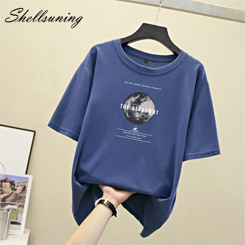 Shellsuning T Shirt Women Summer Harajuku 2020 Tops Short Sleeve Print Tees Shirt Hip Hop 100% Cotton O Neck T-shirt Plus Size