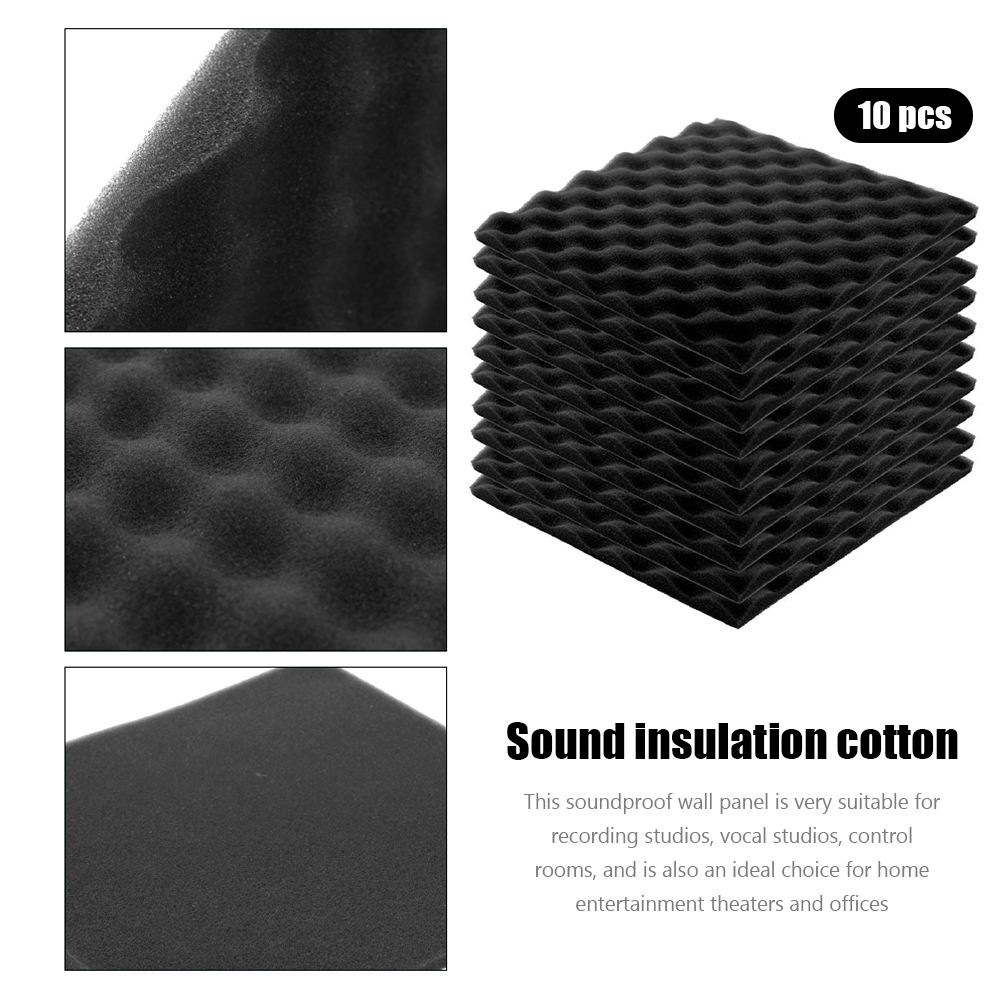 Acoustic Panels for Walls Studio Sound Absorption Foam Tiles 30x30x2cm Black Treatment Studio Room Absorption Tiles 10x