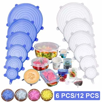 Tapas elásticas de silicona de 6/12 Uds., cubierta de sellado para alimentos, envolturas elásticas reutilizables, cubierta de cuenco de mantenimiento fresco, accesorios de cocina con película protectora