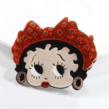 Fashion Little Girl Glitter Acrylic Brooches For Women Cute Cartoon Face Figure Resin Female Brooch Pins Jewelry Party Gifts fishsheep large women figure acrylic brooches and pins fashion resin girl icon big brooch pins female fashion jewelry accessory
