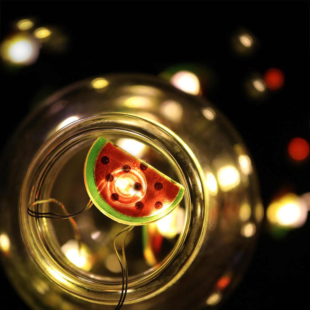 Guirnalda de luces de hadas música Cactus flamenco 2,2 M batería opeared cobre alambre iluminación de vacaciones para habitación boda fiesta decorativa