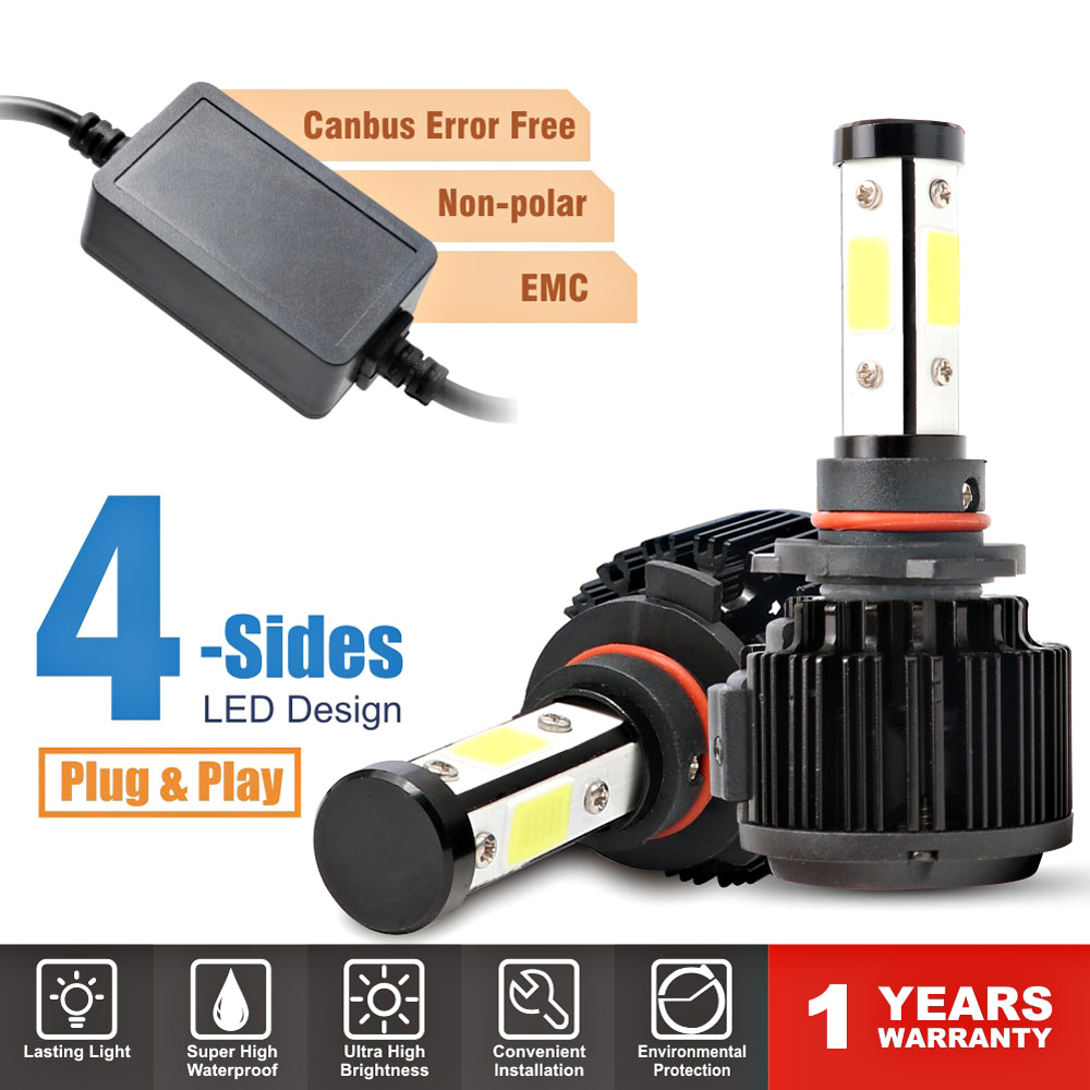 55W Voiture Lumière Ampoule H7 phare Led H4 H11 H13 5202 9004 9007 9012 9005 9006 HB3 HB4 A Mené L'ampoule 4 Côtés 12V Voiture Auto Lampe