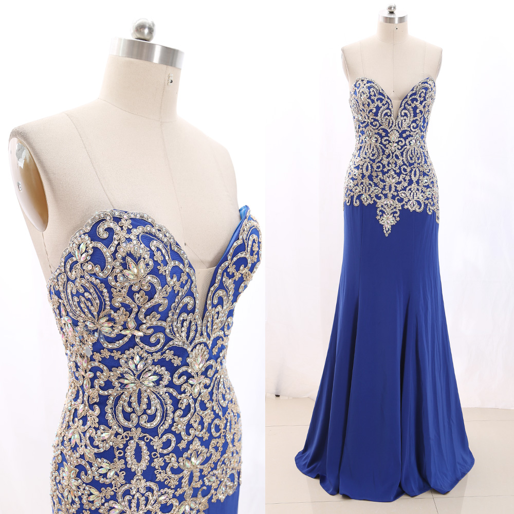 MACloth Blue Sweep Train Strapless Floor-Length Long Crystal Tulle Prom Dresses Dress L 267649 Clearance