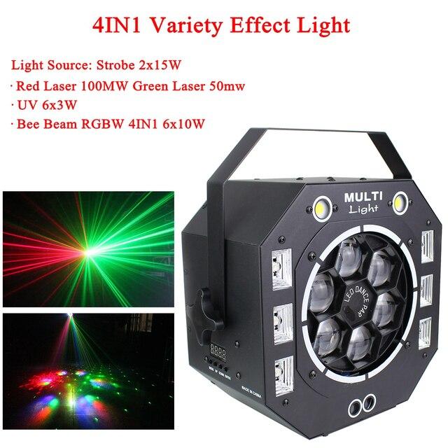 مصباح LED قرصي 120 واط شعاع ستروب ليزر UV 4IN1 متنوعة تأثير ضوء الصوت المنشط DMX512 حفلة DJ مرحلة الزفاف عيد الميلاد مصباح