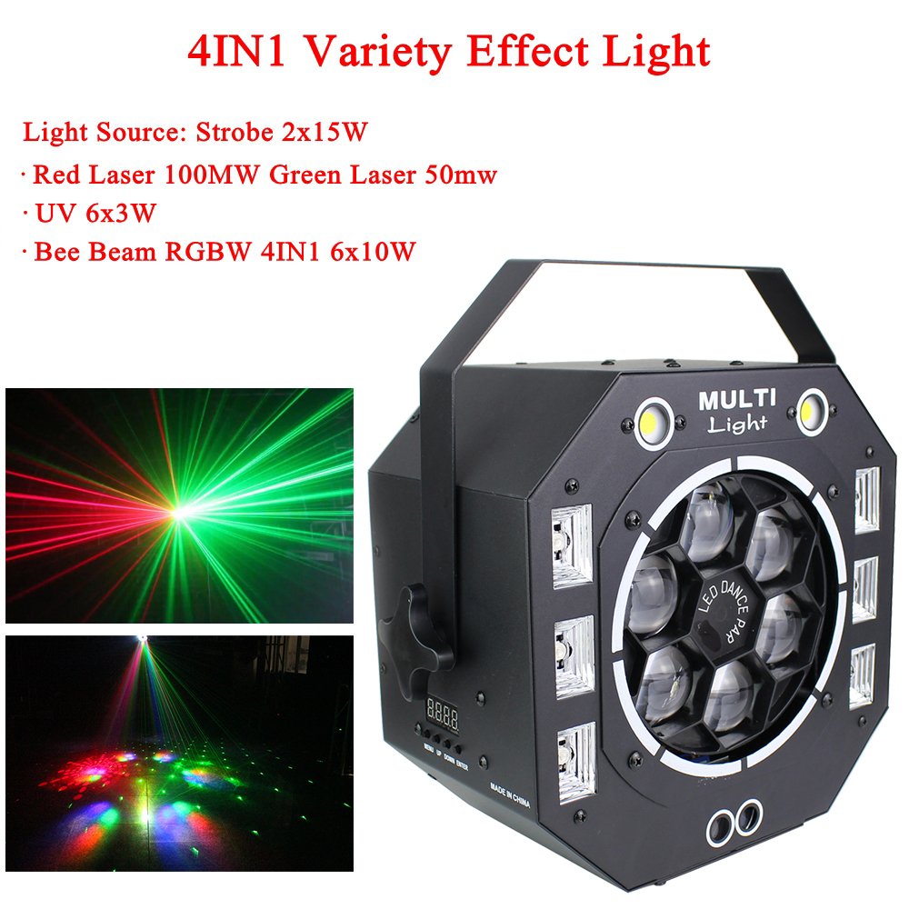 LED Disco Light 120W Beam Strobe Laser UV 4IN1 Variety Effect Light Sound Actived DMX512 Party DJ Stage Wedding Christmas Lamp