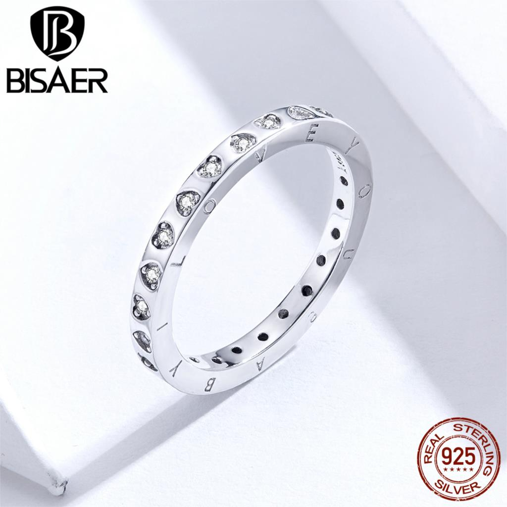 Love Heart Engrave Rings BISAER 925 Sterling Silver Stackable Heart Women Finger Rings Silver Cubic Zircon Jewelry ECR633