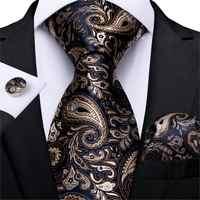 Hommes cravate or noir Paisley mariage cravate pour hommes Hanky boutons de manchette soie hommes cravate ensemble fête affaires mode DiBanGu Designer MJ-7249