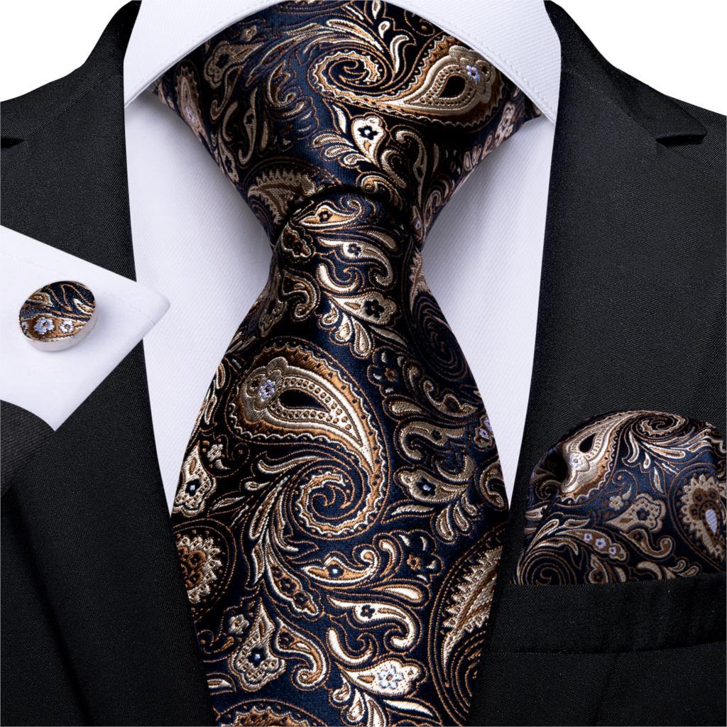 Men Tie Gold Black Paisley Wedding Tie For Men Hanky CufflinkS Silk Men Tie Set Party Business Fashion DiBanGu Designer MJ-7249