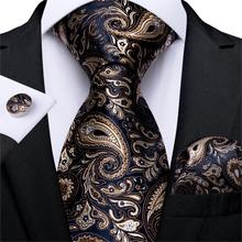 Men Tie Gold Black Paisley Wedding For Hanky CufflinkS Silk Set Party Business Fashion DiBanGu Designer MJ-7249