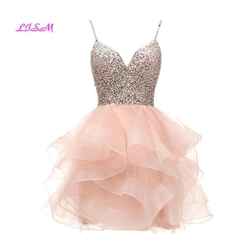 LISM Spaghetti Beaded Bodice Short Homecoming Dress Tulle Mini Prom Dress Sequins Crystals Party Gown 8 grade graduation dress embroidered bodice frilled dress