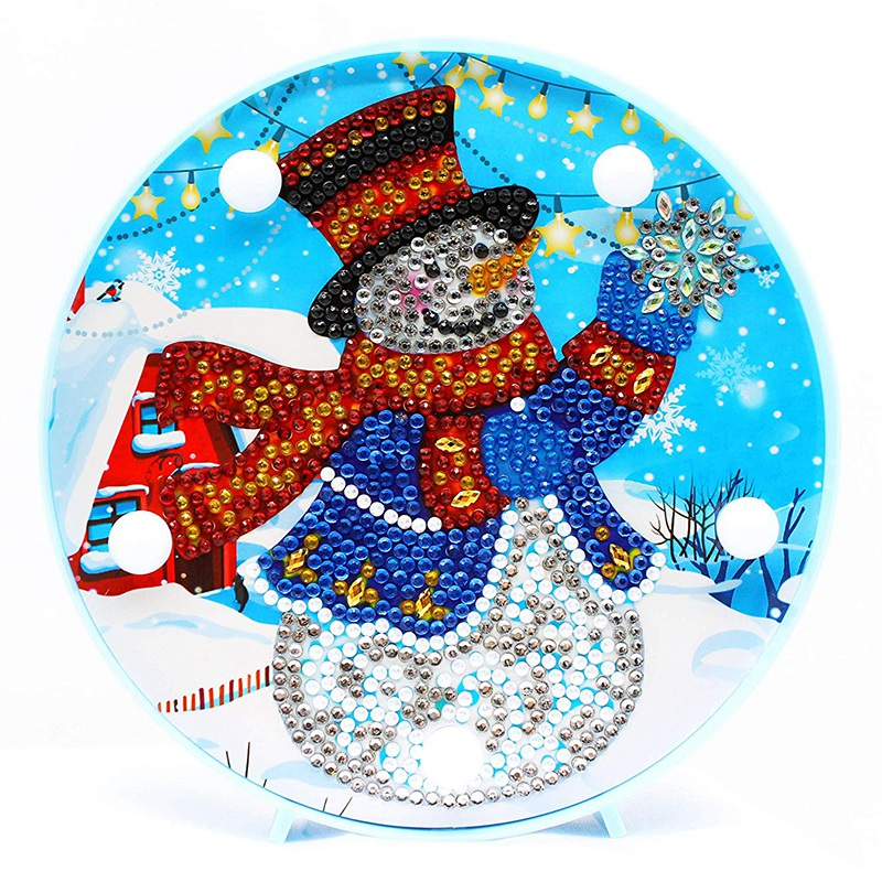 ABUI-Diamond Painting LED Light Snowman 5D Full Drill By Number Kits Christmas Gifts or Embroidery Craft for Home Decoration-6.0