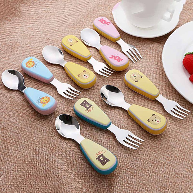 2pcs Kids Cartoon Tableware Set For Babies Practise Spoon And Fork, Stainless Steel Cutlery Sets With Non-Slip Silicone Handle