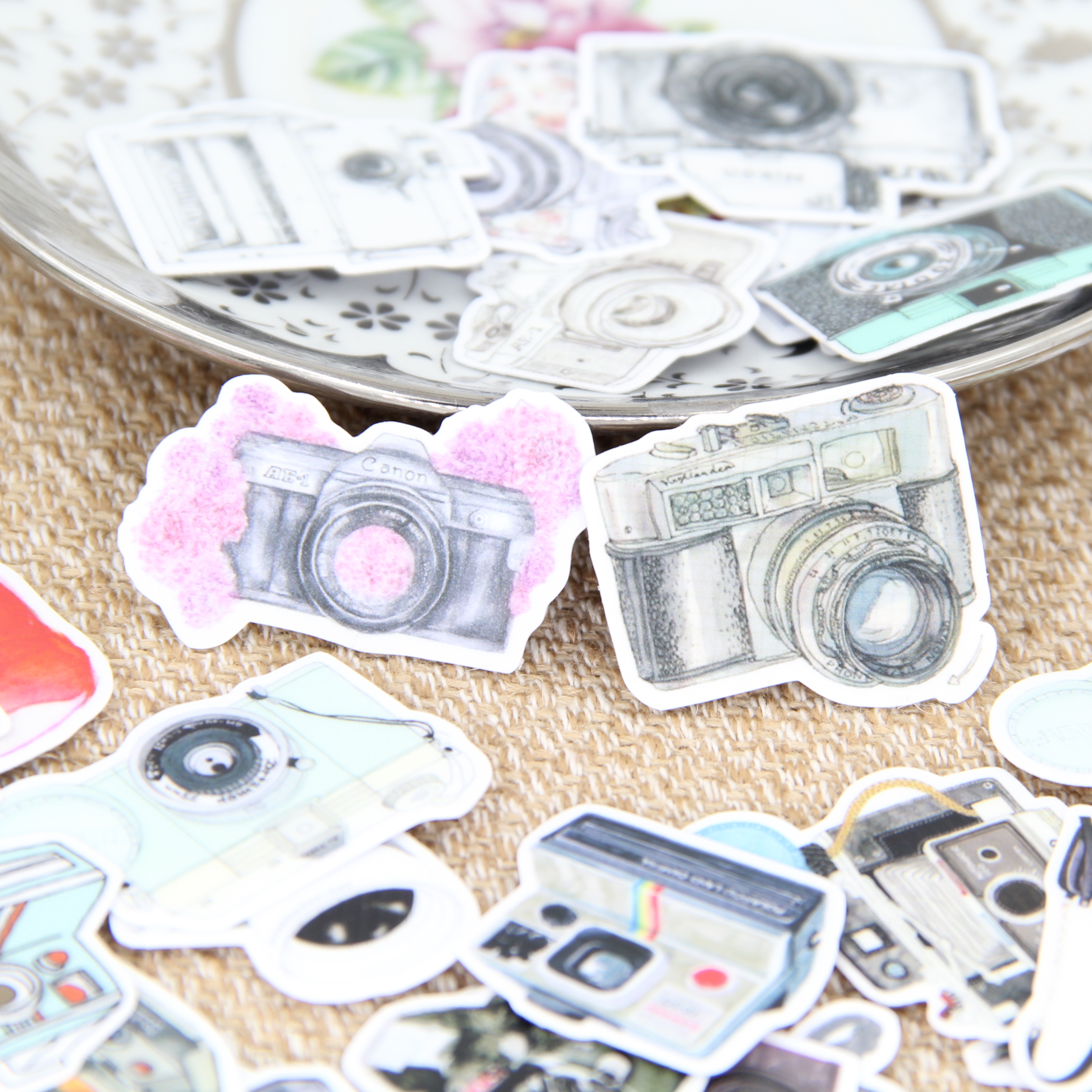 35Pcs/Set Vintage Camera Sticker DIY Craft Scrapbooking Album Junk Journal Planner Decorative Stickers