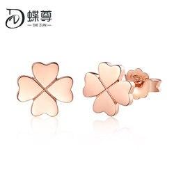 18K Emas Semanggi Beruntung Rumput Telinga Kuku Rose Golden Gula Golden Ear Ornamen Klavikula Wanita