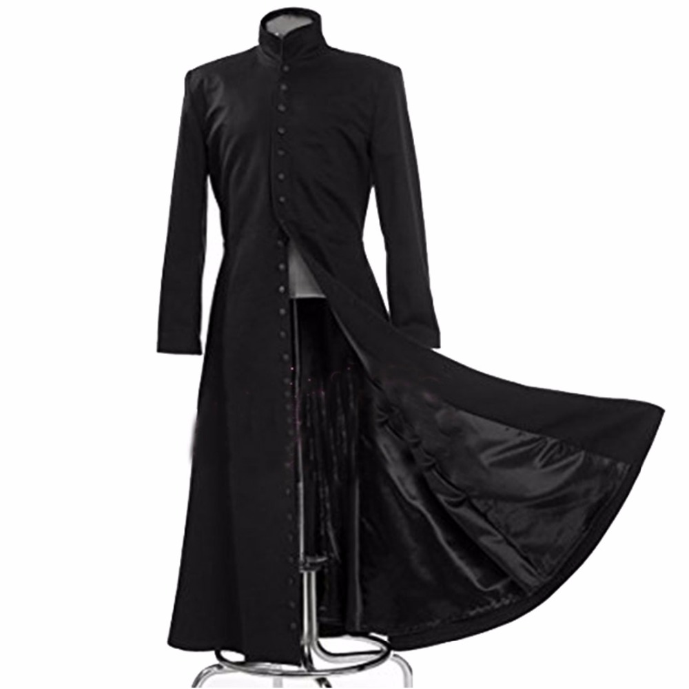 2020 The Matrix Cosplay Customised Black Cosplay Costume Neo Trench Coat Only Coat Womens Mens Girls Boys Unisex Cos Clothing