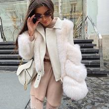 Winter Coats Jacket Real-Fox-Fur Pink Java Luxury Fur QC20066 Genuine Sheepskin Women