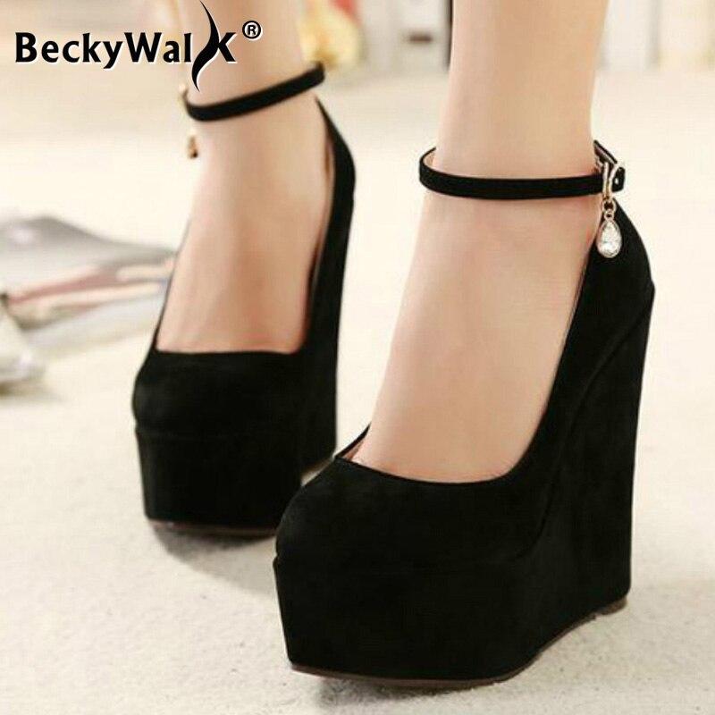 Flock Wedges Pumps Large Size Female Super High Heels Bride Wedding Shoes Woman Platform Ankle Strap Party Pumps Women WSH2594