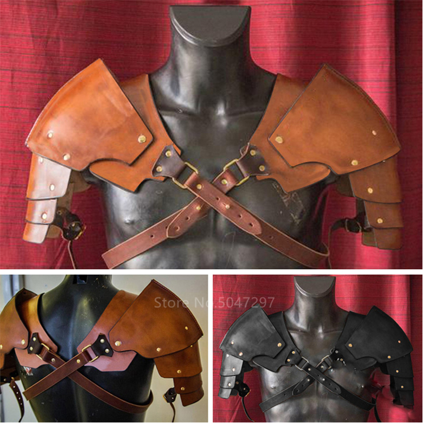 Men Medieval Costume Armors Cosplay Accessory Vintage Gothic Knight Warrior Shoulder PU Leather Harness Body Chest Harness Belt