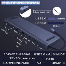 USB C Hub 12 in 1 Tipo-C a HDMI VGA RJ45 4 USB 3.0 Mini DP VGA Porta adattatore Per MacBook a Più di Tipo C HUB USB lettore di Schede
