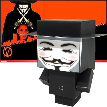 No-glue V Vendetta Folding Cutting Mini Cute 3D Paper Model Papercraft Movie Figure DIY Cubee for Kids Adult Craft Toys CS-015 image