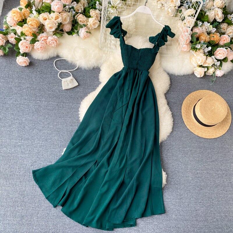 2020 Высокая Талия Slash шеи Для женщин длинное платье элегантные большие качели А-силуэт Vestidos Verano Винтаж зеленый/красный вечерние платья для же...