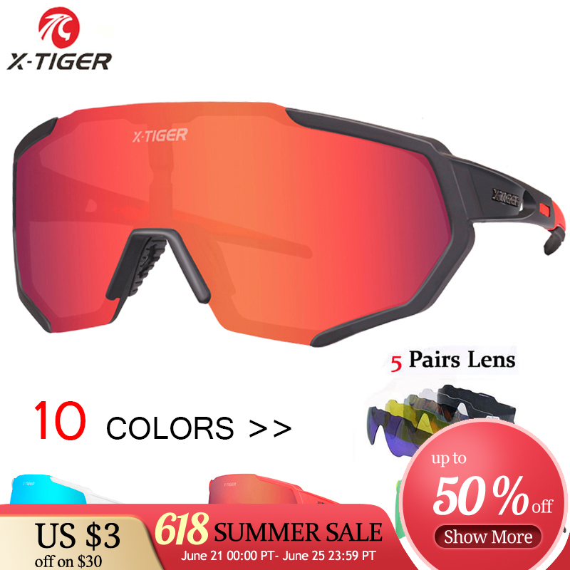 X-TIGER Polarized Lens Cycling Glasses Road Bike Cycling Eyewear Cycling Sunglasses MTB Mountain Bicycle Cycling Goggles