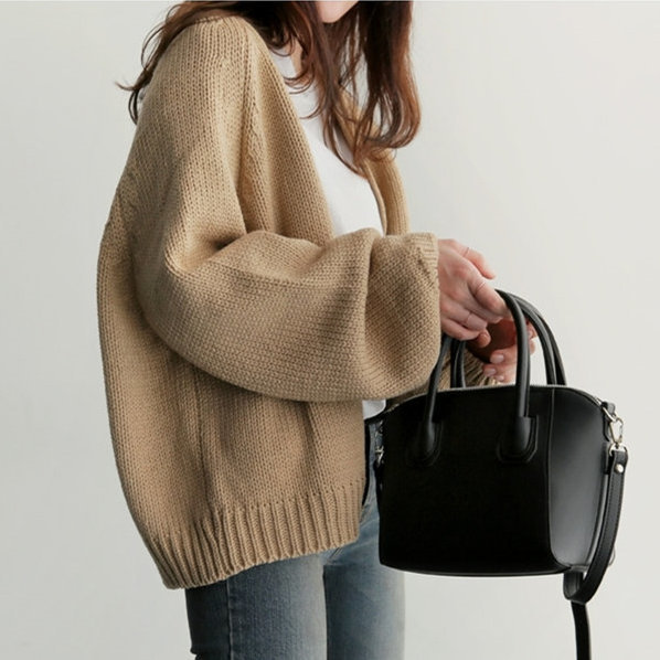 Autumn 2020 New Winter Women Loose Knitted Cardigan Long Sleeve Female Sweater Short V-neck Femme Casual Jacket LX1373