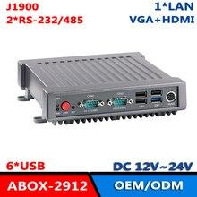 J1900 4 ядра стоечный прочный промышленный компьютер без вентилятора 2 * RS-232/485 COM