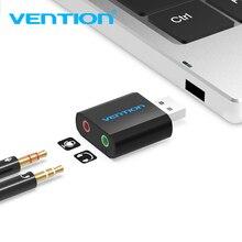 Vention USB tarjeta de sonido USB interfaz de Audio externo 3,5mm adaptador de Audio para micrófono tarjeta de sonido para portátil PS4 auriculares tarjeta de sonido
