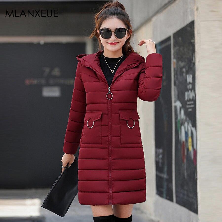 Solid Winter Hooded Long Coats Women Slim Zipper Thicken Warm Plus Size Female Jackets Streetwear   Parka   Coat Ladies Outerwears