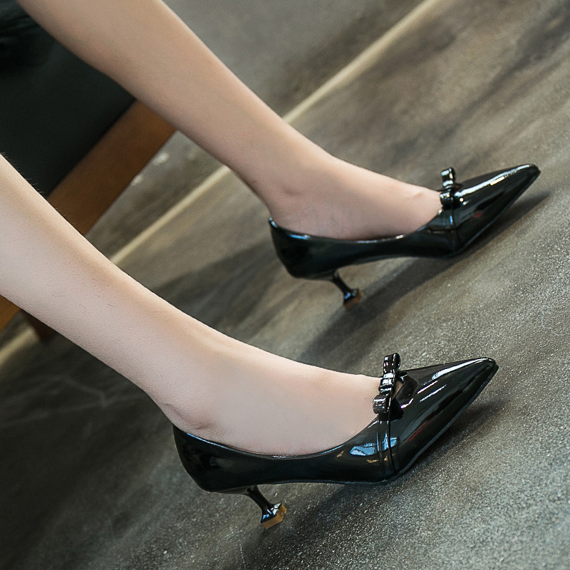 2018 Spring New Products Apricot Elegant Bow High Heel Shoes Korean-style Pointed Shallow Mouth Thin Heeled Shoes WOMEN'S Black