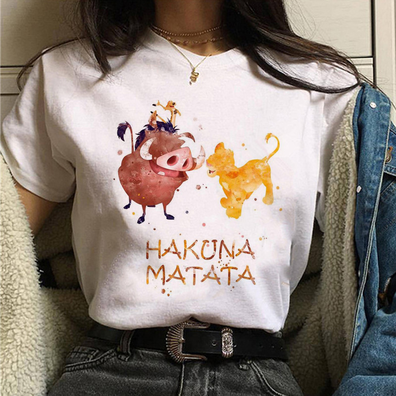 The Lion King Hakuna Matata T Shirt Harajuku Women Ulzzang Tshirt 90s Summer Print Top Tee T-shirt Funny Casual Female Homme