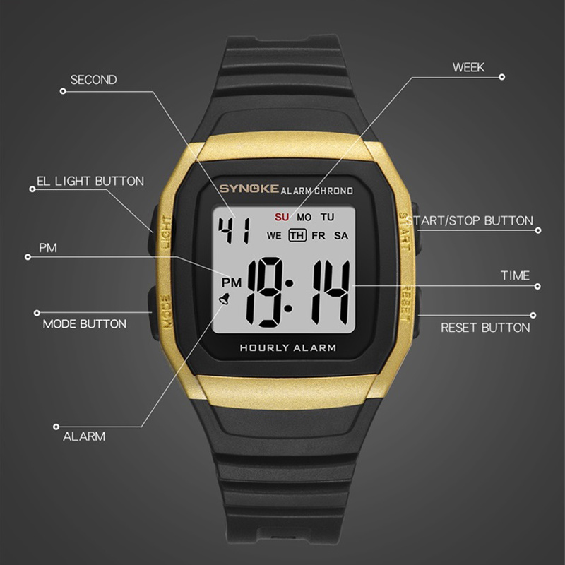 SYNOKE Digital Watch Men Sport Pedometer Watch Waterproof 30M Fashion Countdown Military Clock Relogio Digital Shock Resistant