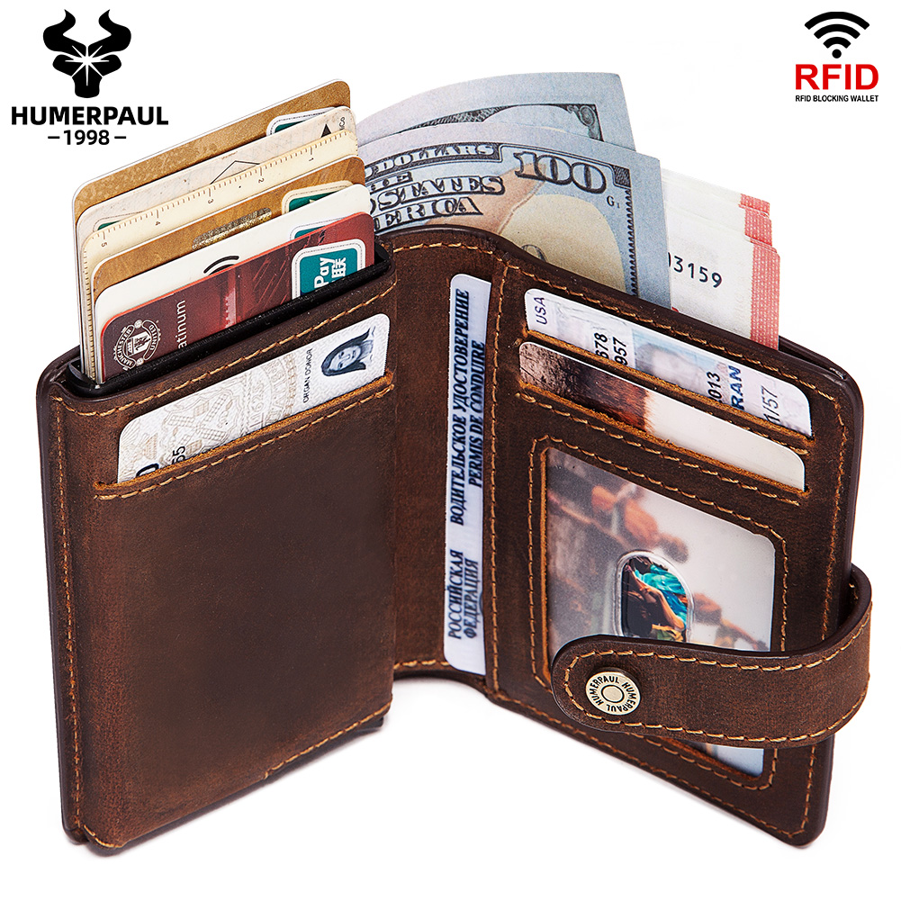 Rfid Credit Card Holder Wallet Men Aluminum Pop Up Cardholder Blocking Case Crazy Horse Leather Big Creditcard Holder Coin Purse