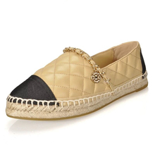 Womens Shoes Espadrilles Casual Lady Flat Slip-on Brand Loafers Slip Gingham Breathable Walking Genuine Leather