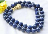 Natural 36 14mm Round Blue lapis lazuli Bead Necklace CZ Cougar