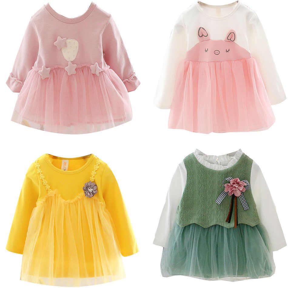Коллекция 2019 года, модная одежда для маленьких девочек милое платье принцессы с короткими рукавами для маленьких девочек возрастом от 0 до 24 месяцев Одежда для новорожденных девочек